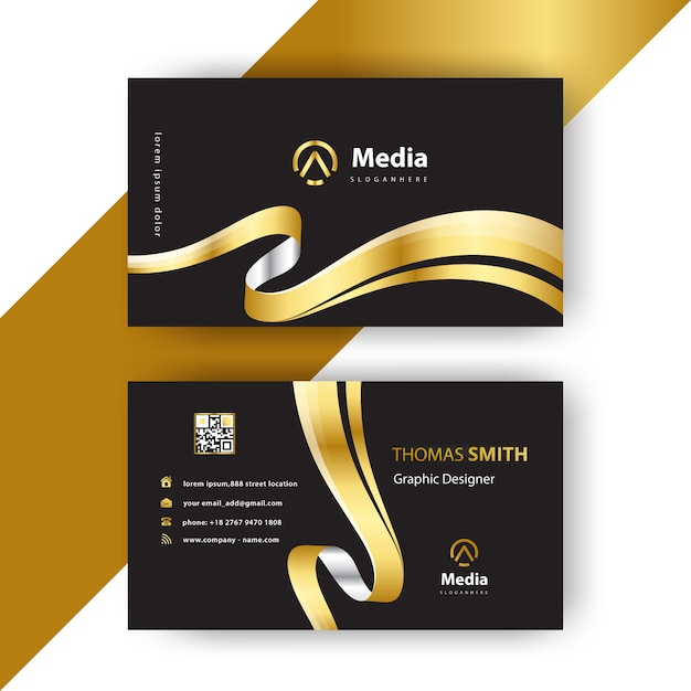 Luxury wavy business card Free Vector