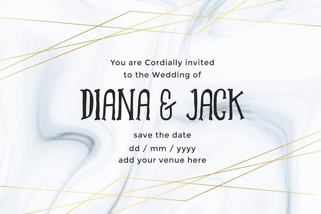 Modello di carta di nozze di lusso con priorità bassa di struttura di marmo Vettore gratuito