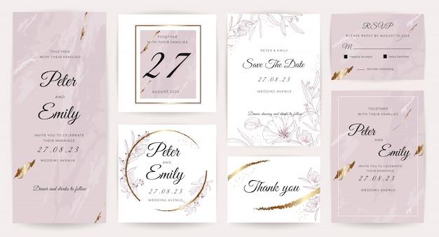 Luxury wedding invitation card  collection. Premium Vector