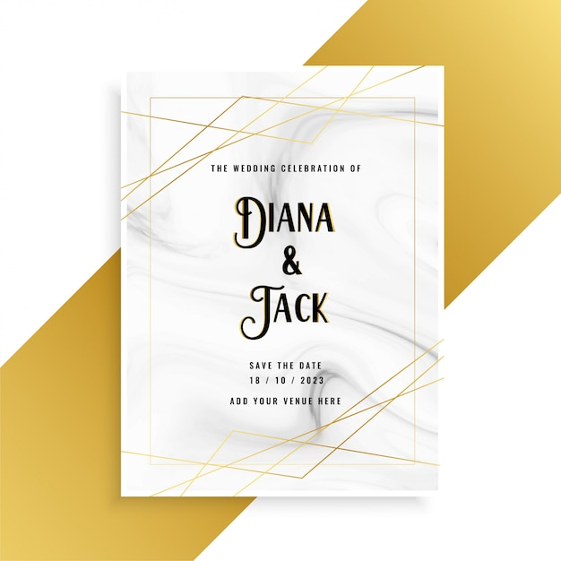 Luxury wedding invitation card design with marble texture Free Vector