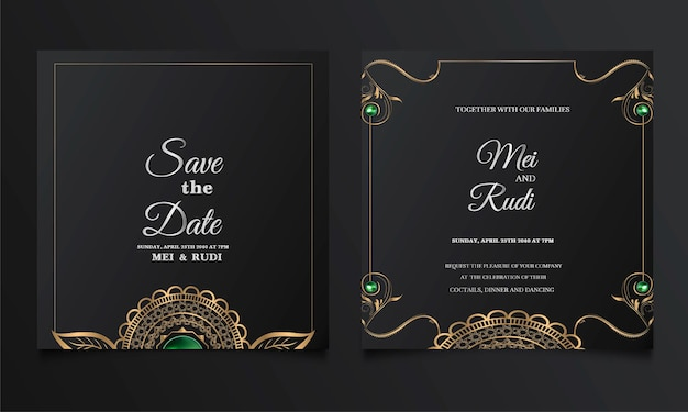 Luxury wedding invitation card set Premium Vector