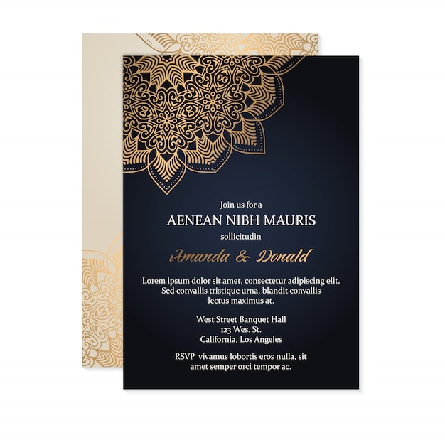 Luxury Wedding Invitation Card Template Vector Free Download