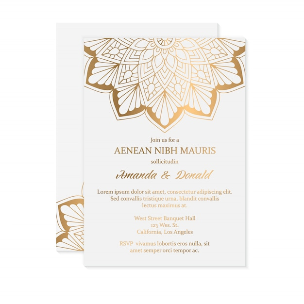 Luxury wedding invitation card template Free Vector