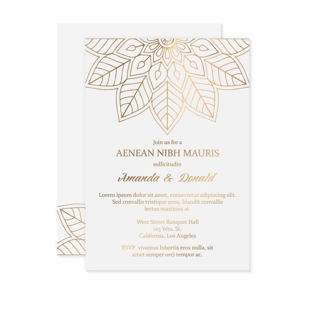 Luxury wedding invitation card template Free Vector