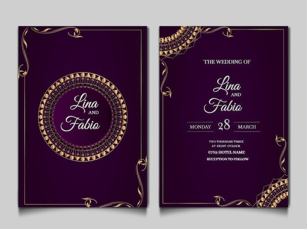 Набор роскошных свадебных пригласительных билетов Бесплатные векторы