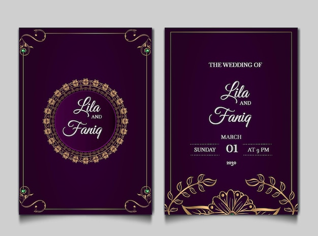 Set di carte invito matrimonio di lusso Vettore gratuito