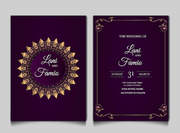 Luxury wedding invitation cards style monoline Free Vector