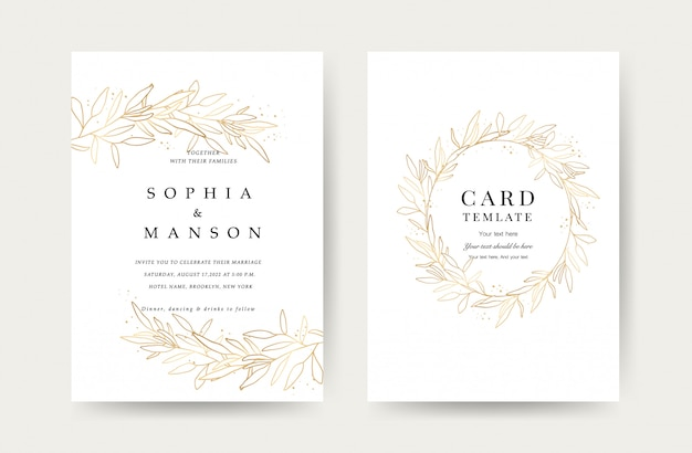 Luxury wedding invitation cards template Premium Vector