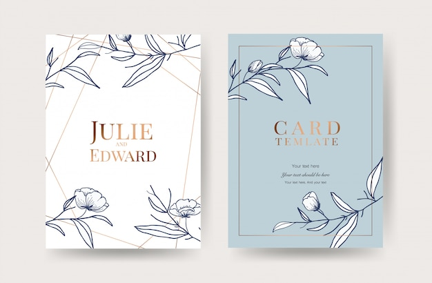 Luxury wedding invitation cards vector Premium Vector