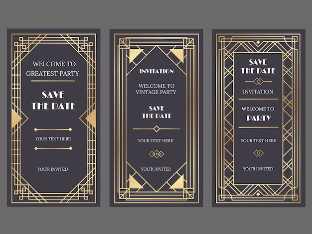 Luxury wedding invitation cards with art deco or gatsby style, golden ornaments Premium Vector