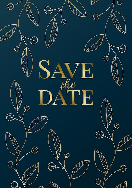 Luxury wedding invitation design or greeting card template with golden roses on a navy blue background. Premium Vector
