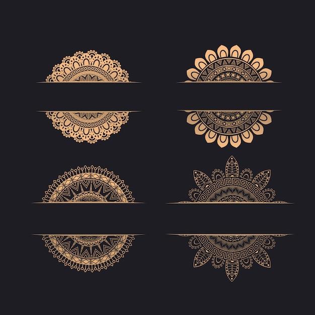Luxury wedding invitation ornaments Premium Vector