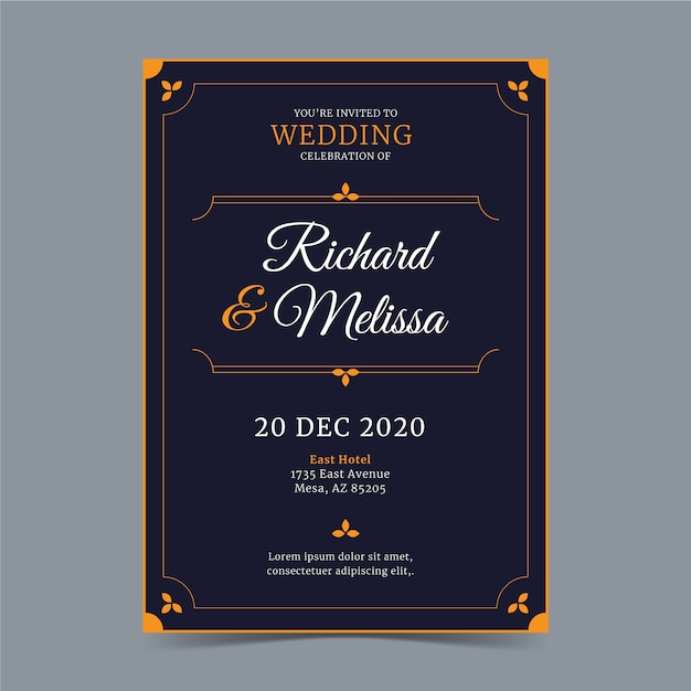 Роскошные свадебные приглашения шаблон концепции Бесплатные векторы