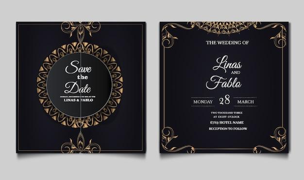 Design del modello di invito a nozze di lusso Vettore gratuito