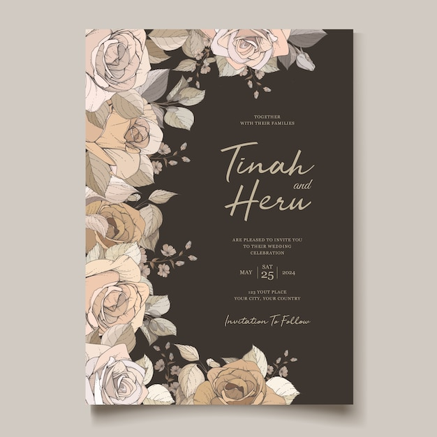 Luxury wedding invitation template Free Vector