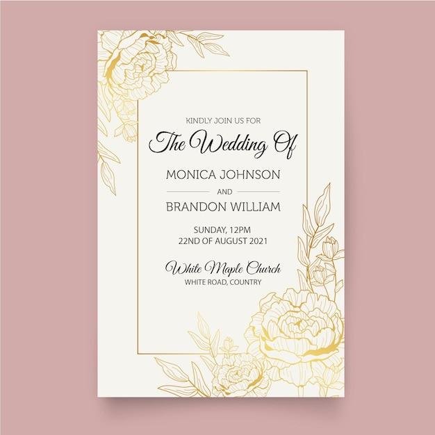 Роскошный шаблон свадебного приглашения Бесплатные векторы