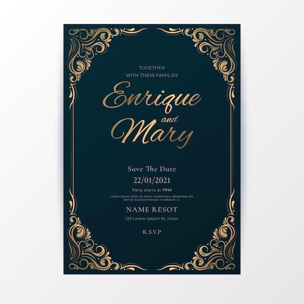 Luxury wedding invitation template Free Vector