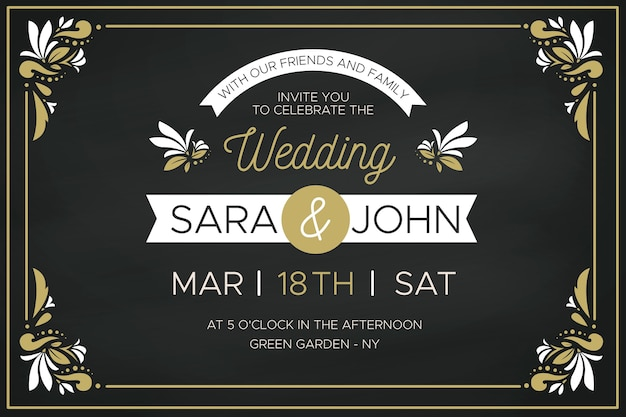 Luxury wedding invitation with golden floral frames Free Vector