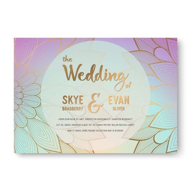 luxury wedding invitation with mandala Free Vector