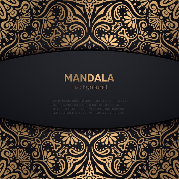 luxury wedding invitation with mandala Free Vector