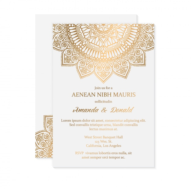 Luxury wedding invitation Free Vector