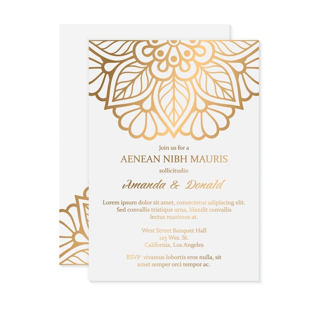 Luxury wedding invitation Free Vector