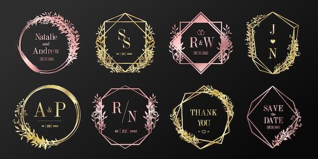 럭셔리 웨딩 모노그램 로고 컬렉션. 브랜딩 로고 및 초대 카드 디자인을위한 꽃 프레임. 무료 벡터