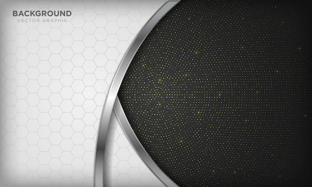Luxury white and black overlap background with realistic silver line and hexagon on shiny golden radial halftone. Premium Vector