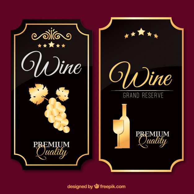 Beautiful Luxury Wine Labels In Vintage Design Free Vector