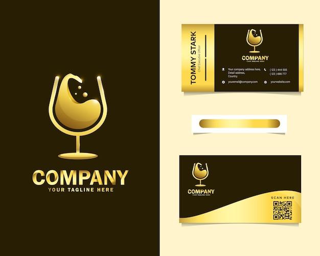 Роскошный винный логотип с шаблоном визитной карточки канцелярских товаров Premium векторы