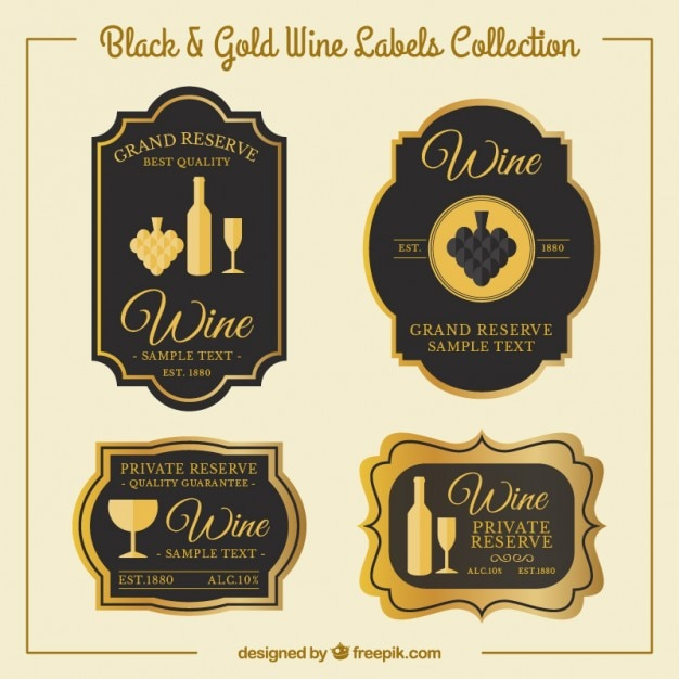luxury wine stickers in vintage style vector free download. Black Bedroom Furniture Sets. Home Design Ideas