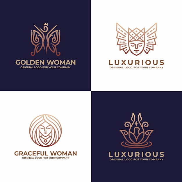 Luxury Woman Face Salon Beauty Logo Design Premium Vector