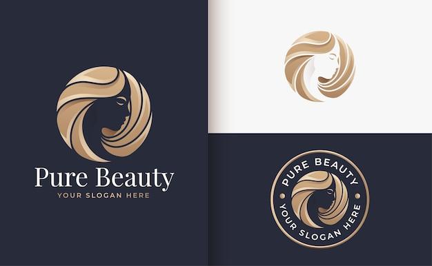 Luxury woman hair salon gold gradient logo design Premium Vector