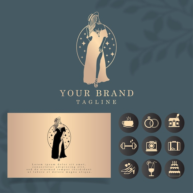 Luxury woman logo editable template Premium Vector