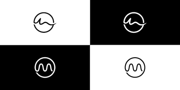 M circle logo initial letter design Premium Vector