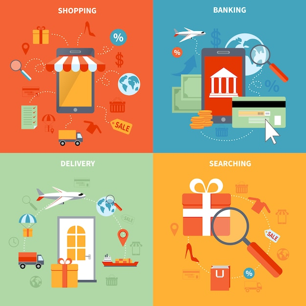 M-commerce and shopping elements set with searching banking and delivery symbols flat isolated vector illustration Free Vector