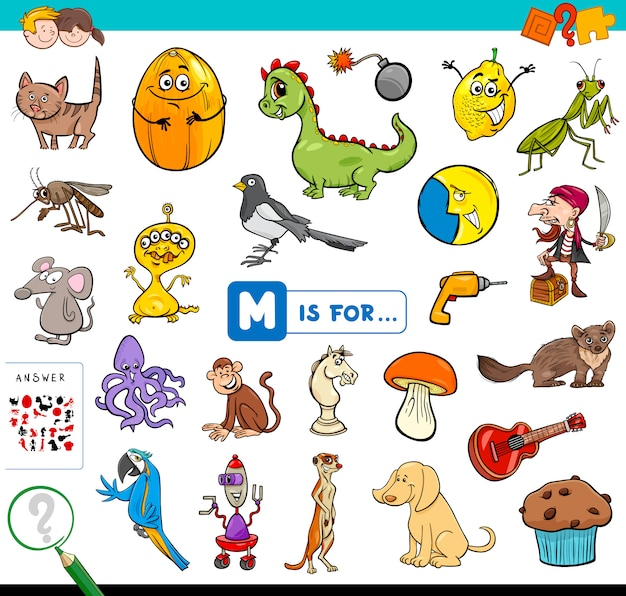 M is for educational game for children Premium Vector