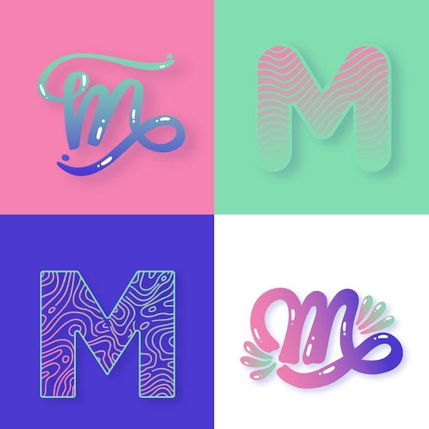 M文字ロゴコレクションスタイル 無料ベクター