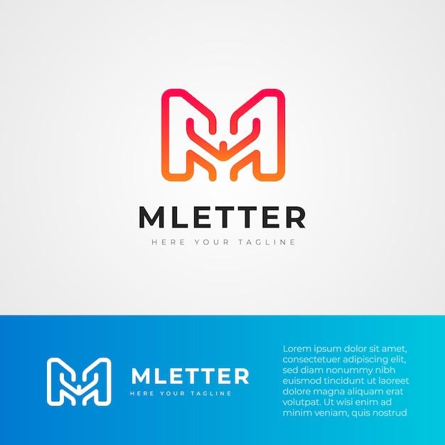 M letter technology logo design template Premium Vector