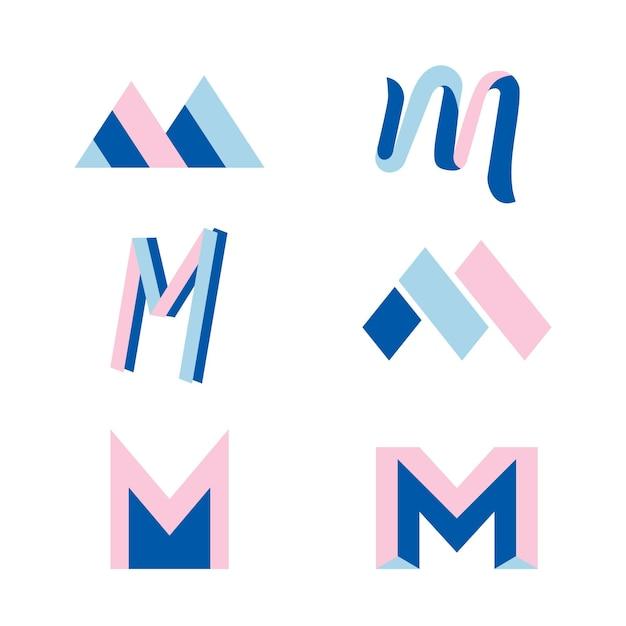 Mロゴコレクションコンセプト 無料ベクター