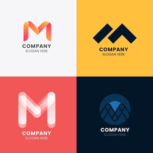 Коллекция логотипов м Бесплатные векторы