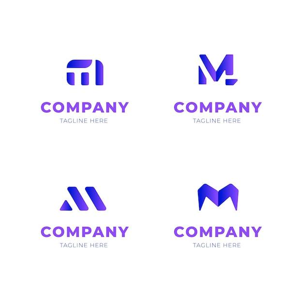 Mロゴデザインコレクション 無料ベクター