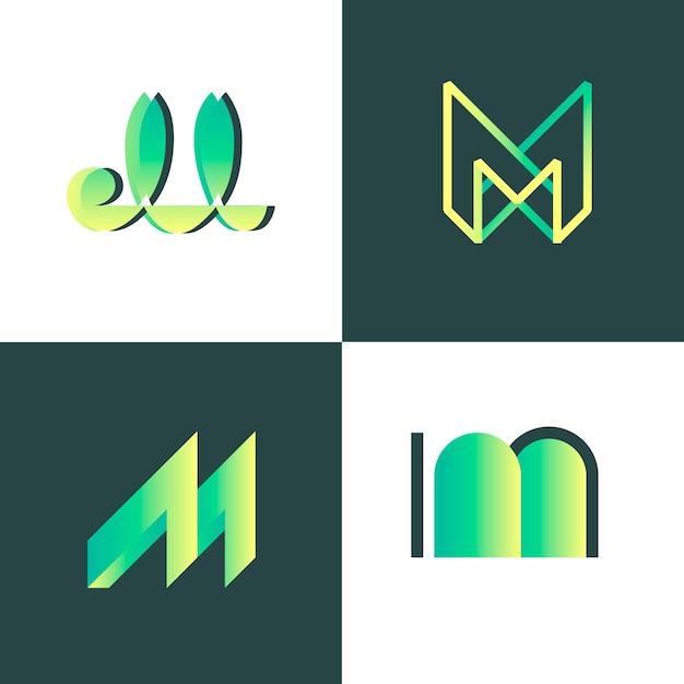 M шаблон коллекции логотипов Бесплатные векторы