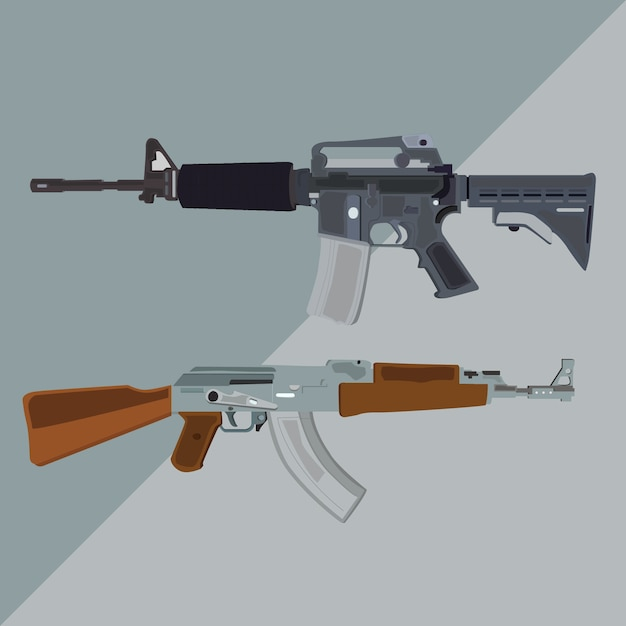 M4a1 and ak-47 riffle vector illustration Premium Vector