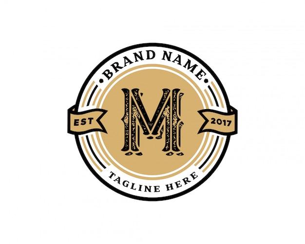 Креативная буквица m ретро винтажный хипстер и векторный гранж-дизайн логотипа Premium векторы