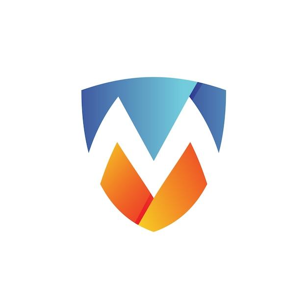 手紙mシールドロゴベクトル Premiumベクター