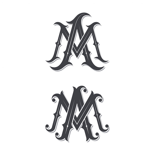 Ma vintage monogram logo. Premium Vector