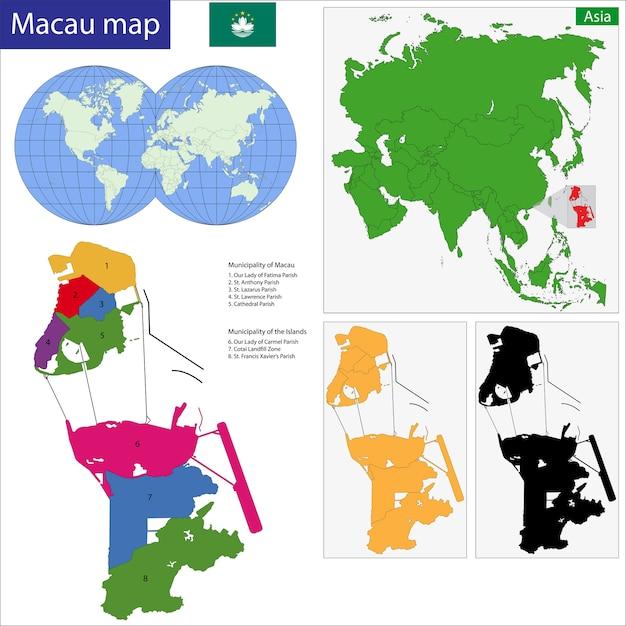 Macao map Vector Premium Download