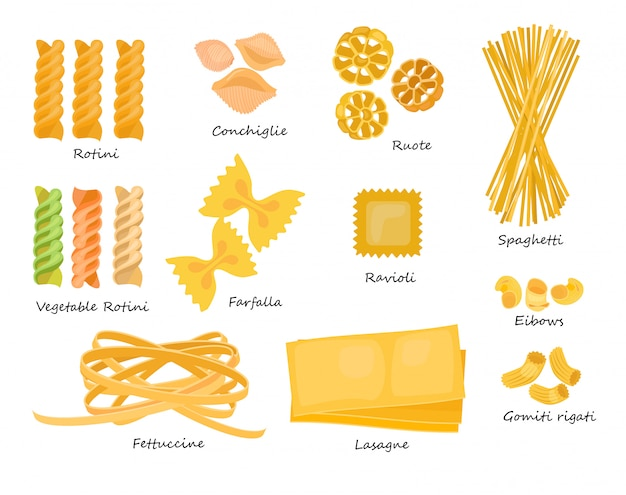 Macaroni types set Free Vector
