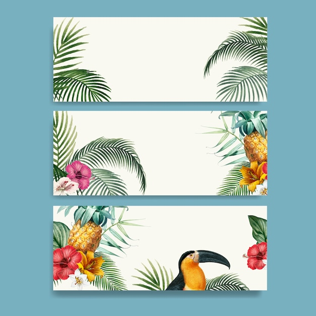 Macaw foliage mockup collection Free Vector